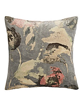 Printed Velvet Floral Cushion
