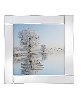 Snowy Trees on Mirror Frame