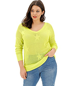 Lime Star Detail Pointelle Jumper
