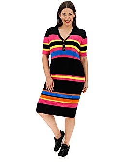 Bright Stripe Ribbed Knitted Dress