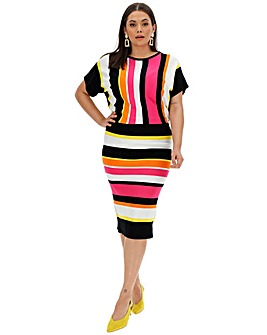 Multi Stripe Batwing Knitted Dress