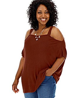 Henna Linen Mix Cold Shoulder Jumper