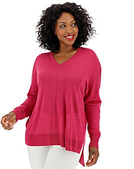 Fuschia Lightweight Pointelle Jumper