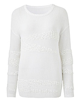 White Textured Yarn Jumper