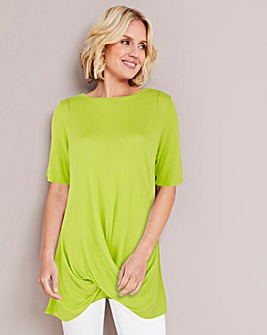 Lime Linen Mix Twist Front Jumper