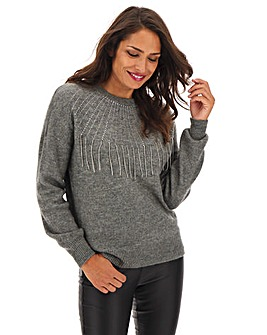 Grey Diamante Fringe Jumper