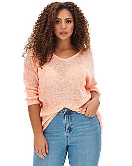 Orange Fine Knit V Neck Jumper