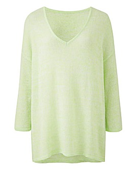 Lime Fine Knit V Neck Jumper