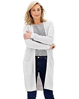 Grey/White Longline Midi Cardigan