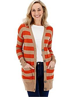 Orange/Camel Stripe Boyfriend Cardigan