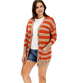 Orange/Camel Stripe Boyfriend Cardigan