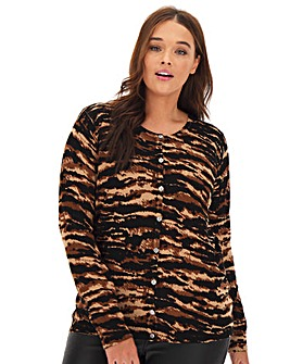 Tiger Print Crew Neck Cardigan