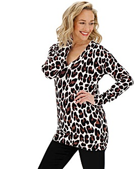 Animal Print V-neck Tunic Jumper