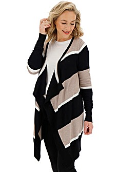 Multi Stripe Waterfall Cardigan