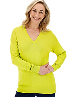 Chartreuse V Neck Jumper