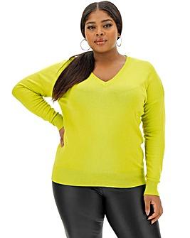 Chartreuse V Neck Jumper