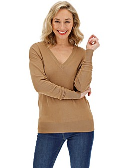 Camel V Neck Jumper