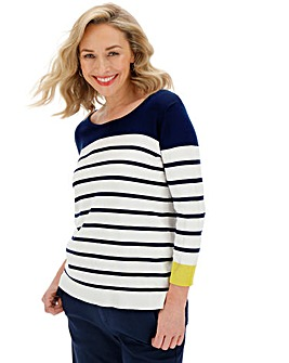 Ivory/Navy Stripe Crew Neck Jumper