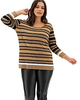 Camel/Black Stripe Crew Neck Jumper