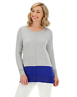 Grey/Cobalt Boxy Jumper