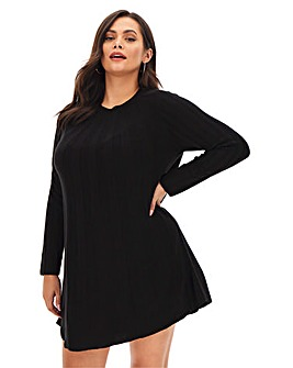 Black Knitted Cashmere like Swing Dress