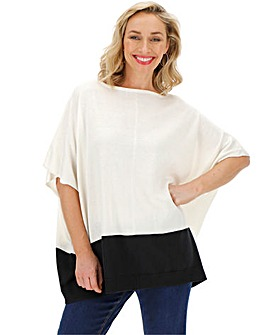 Ivory/Black Cotton Mix Poncho