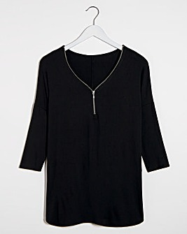 Zip Front Long Sleeve Tunic