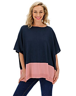 Navy/Blush Cotton Mix Poncho