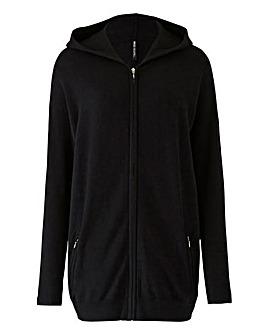 Black Hooded Sportive Cardigan