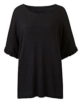 Black Ruffle Boxy Linen Mix T-Shirt