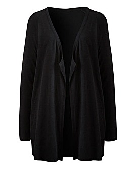 Black Linen Waterfall Cardigan