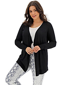 Black Linen Mix Waterfall Cardigan