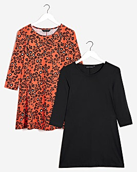 Animal & Black 2 Pack Long Sleeve Swing Tunics
