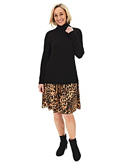 2 in 1 Leopard Skirted Knitted Tunic