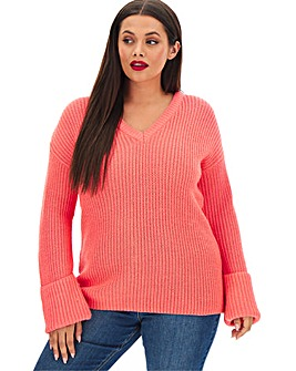 Neon Pink Turn Back Cuff Boxy Jumper
