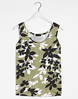 Sage and Black Floral Placement Print Cotton Slub Vest