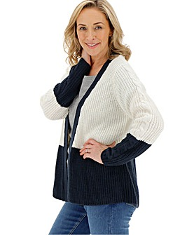 Navy/Ivory Cable Sleeve Cardigan