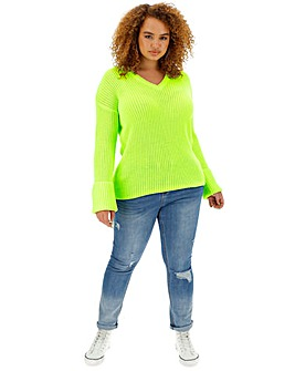 Neon Lime Turn Back Cuff Boxy Jumper