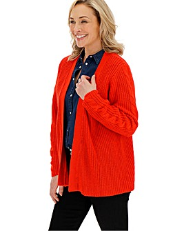 Bright Red Cable Sleeve Cardigan