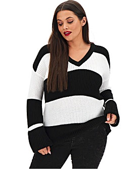 Stripe Turn Back Cuff Boxy Jumper
