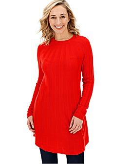 Bright Red Knitted Cashmere like Swing Dress