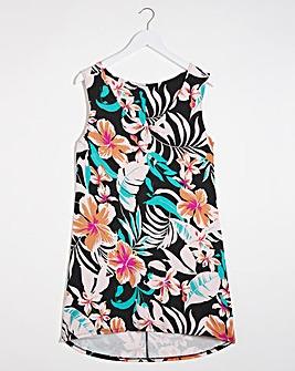 Salina Tropical Floral Print Sleeveless Dip Back Tunic