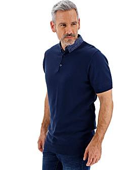 Woven Collar Short Sleeve Polo Long