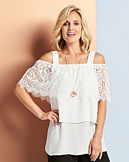Lace Edge Cold Shoulder Top