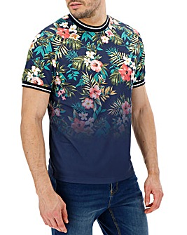 Navy Sports Tipping Floral T-Shirt Long