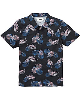 Navy Floral Print Polo Long