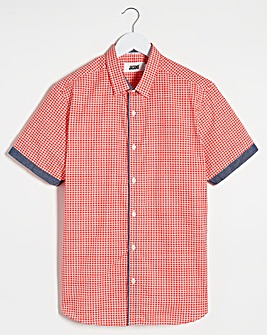 Coral Geo Check Short Sleeve Shirt Long