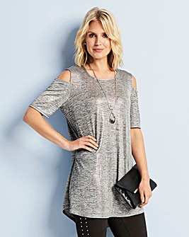 Cold Shoulder Metallic Jersey Top