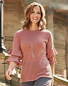 Frill Sleeve Top with Necklace