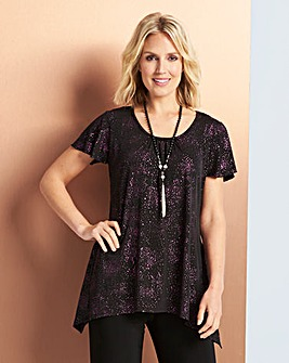 Glitter Hanky Hem T-Shirt with Necklace
